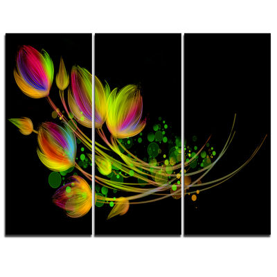 Designart Bright Bouquet Floral Art Canvas Print -3 Panels