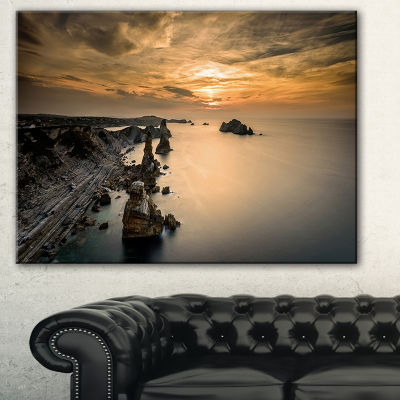 Designart Liencres Rocks On Coast In Spain Landscape Art Print Canvas