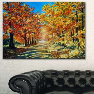 Designart Bright Day In Autumn Forest Landscape Art Print Canvas - 3 Panels