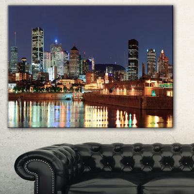 Designart Bright Montreal At Dusk Cityscape Photography Canvas Print