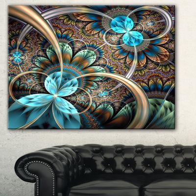 Designart Light Blue Fractal Flower Floral Art Canvas Print - 3 Panels