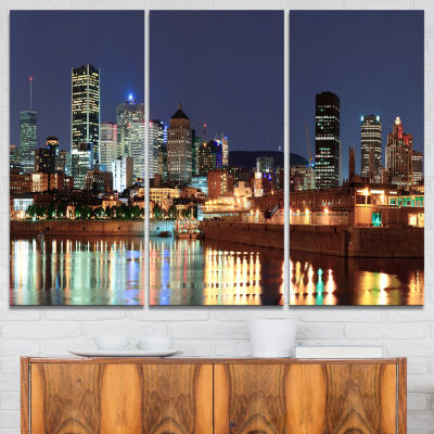 Design Art Bright Montreal At Dusk Cityscape Photography Canvas Print - 3 Panels
