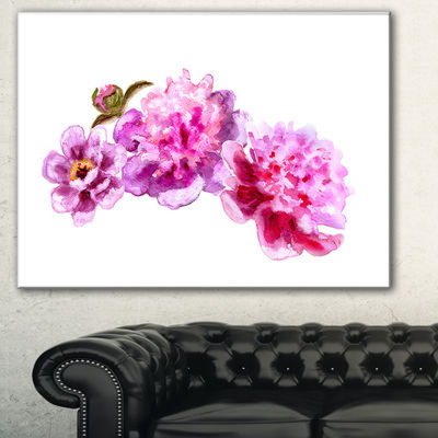 Designart Bright Pink Peony Flowers Floral Art Canvas Print - 3 Panels