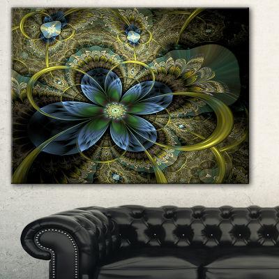 Designart Light Fractal Flower And Butterfly Floral Art Canvas Print