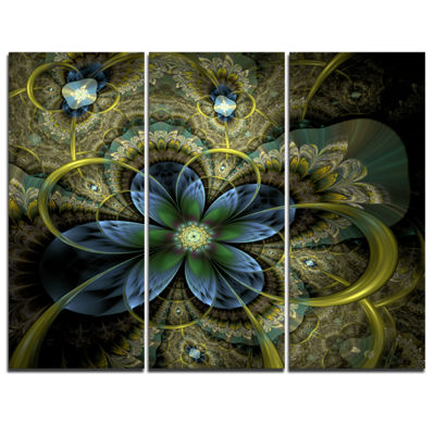 Designart Light Fractal Flower And Butterfly Floral Art Canvas Print - 3 Panels