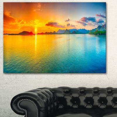 Design Art Bright Sunset Panorama Photography Canvas Art Print - 3 Panels
