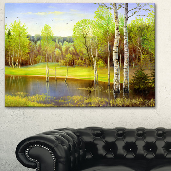 Designart Light Green Autumn Landscape Art PrintCanvas - 3 Panels
