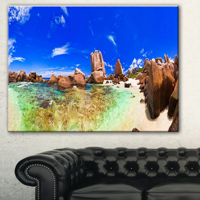 Designart Bright Tropical Beach Panorama LandscapePhotography Canvas Print - 3 Panels