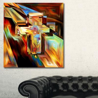 Designart Light Of The Cross Abstract Canvas Artwork