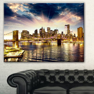 Designart Brooklyn Bridge And Manhattan Skyline Cityscape Canvas Print - 3 Panels