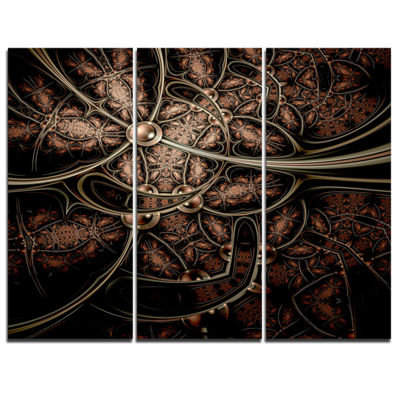 Designart Light Purple Metallic Fabric Pattern Abstract Print On Canvas - 3 Panels