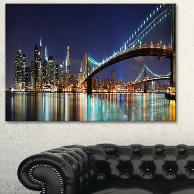 Designart Brooklyn Bridge Panorama Cityscape PhotoCanvas Art Print - 3 Panels
