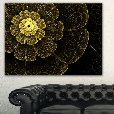 Designart Light Yellow Metallic Fabric Flower Abstract Print On Canvas