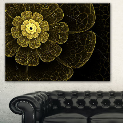 Designart Light Yellow Metallic Fabric Flower Abstract Print On Canvas - 3 Panels