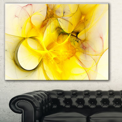 Designart Light Yellow Nebula Star Abstract CanvasArt Print