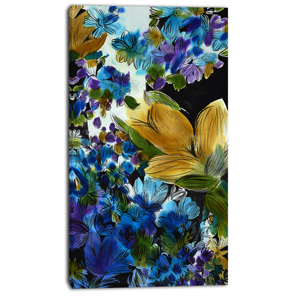 Designart Brown And Blue Flowers Floral Art CanvasPrint