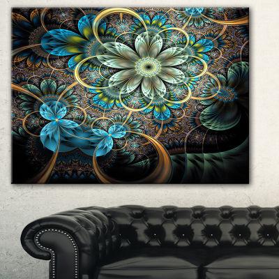 Designart Lighted Blue Fractal Blue Flowers FloralArt Canvas Print - 3 Panels