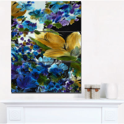 Design Art Brown And Blue Flowers Floral Art CanvasPrint - 3 Panels