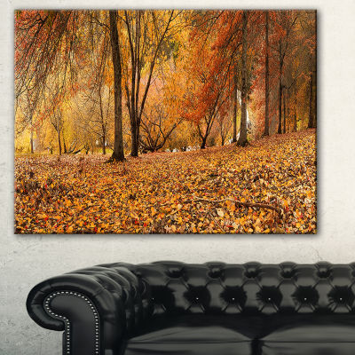 Designart Brown Autumn Panorama Landscape Photography Canvas Print - 3 Panels