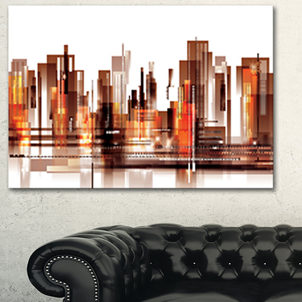 Designart Brown City Skyline Cityscape Canvas ArtPrint