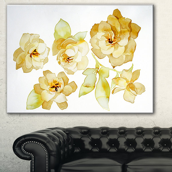 Designart Brown Flowers With White Shade Floral Art Canvas Print