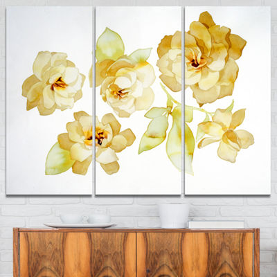 Designart Brown Flowers With White Shade Floral Art Canvas Print - 3 Panels