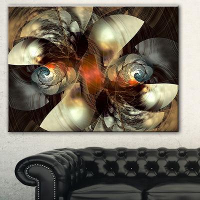 Designart Brown Fractal Artwork Abstract Canvas Art Print - 3 Panels