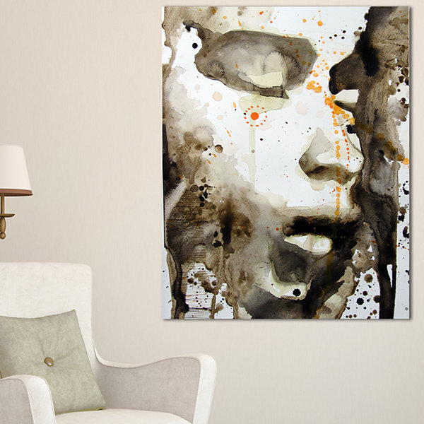 Designart Brown Illustrated Girl Abstract PortraitCanvas Art Print