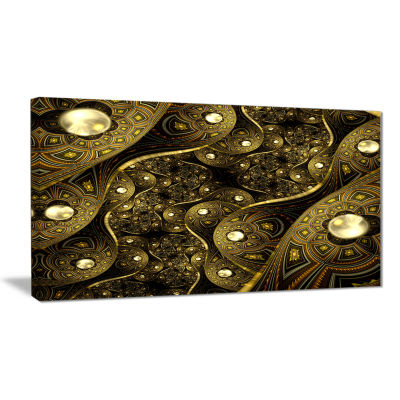 Designart Brown Metallic Fabric Pattern Abstract Print On Canvas