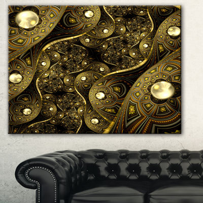 Designart Brown Metallic Fabric Pattern AbstractPrint On Canvas - 3 Panels