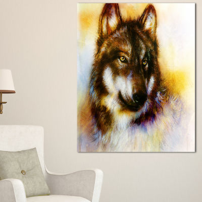 Designart Brown Wolf Illustration Abstract PrintOnCanvas - 3 Panels