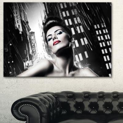 Designart Brunette Woman With Red Lips Woman Portrait Canvas Art Print