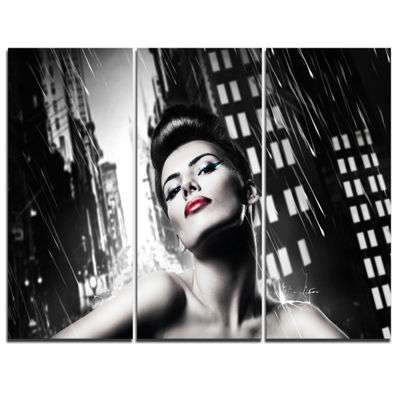 Designart Brunette Woman With Red Lips Woman Portrait Canvas Art Print - 3 Panels