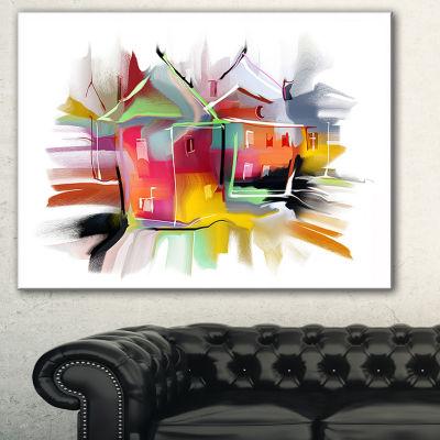 Designart Building Illustration Contemporary Canvas Art Print