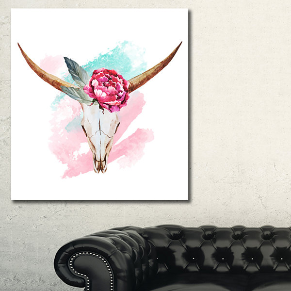 Designart Bull Skull And Flower Floral Art CanvasPrint - 3 Panels