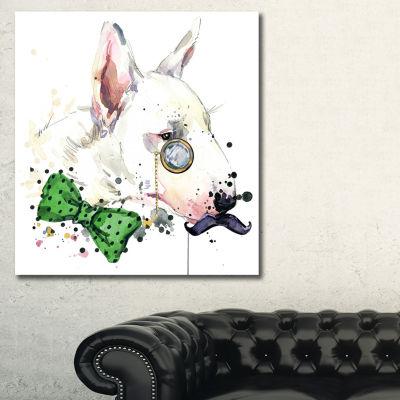 Designart Bull Terrier Dog Animal Art Painting -3Panels