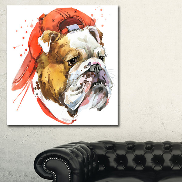 Designart Bulldog Illustration Art Animal Art Painting - 3 Panels