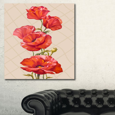 Designart Bunch Of Poppies Vector Art Floral ArtCanvas Print