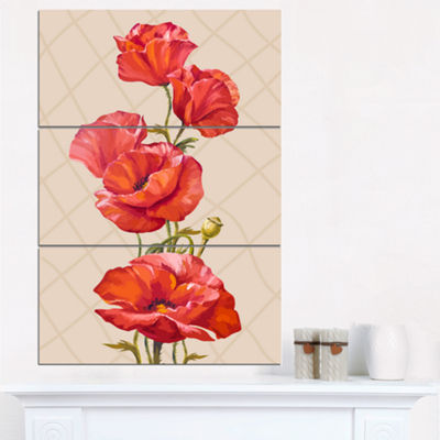 Designart Bunch Of Poppies Vector Art Floral ArtCanvas Print - 3 Panels