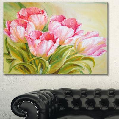 Designart Bunch Of Tulips Oil Painting Floral ArtCanvas Print - 3 Panels