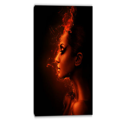 Designart Burning Woman Head Portrait ContemporaryCanvas Art Print