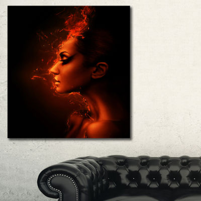 Designart Burning Woman Head Portrait ContemporaryCanvas Art Print - 3 Panels