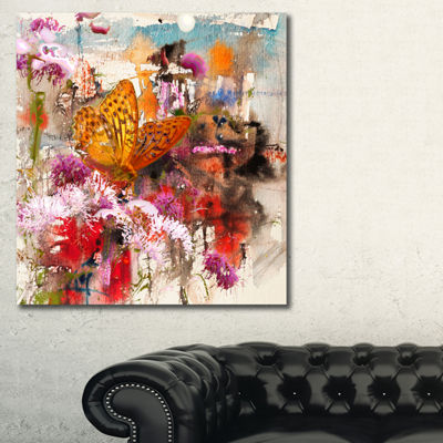 Designart Butterfly Drinking Honey Floral Art Canvas Print - 3 Panels