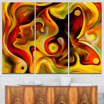 Designart Butterfly S Emotions Abstract Canvas ArtPrint - 3 Panels