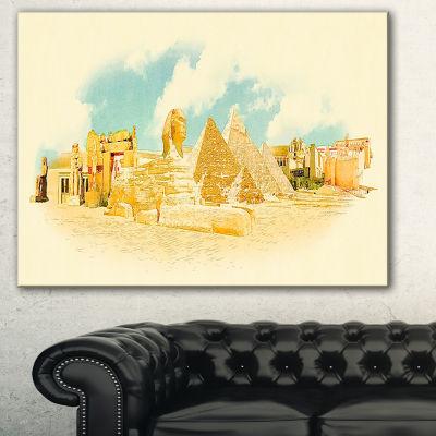 Designart Cairo Panoramic View Cityscape Watercolor Canvas Print - 3 Panels