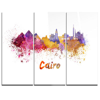 Designart Cairo Skyline Cityscape Canvas ArtworkPrint - 3 Panels