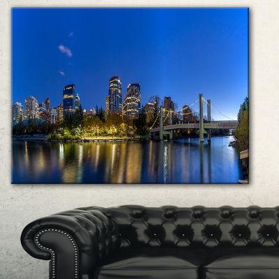 Designart Calgary Skyline Cityscape Photography Canvas Art Print - 3 Panels
