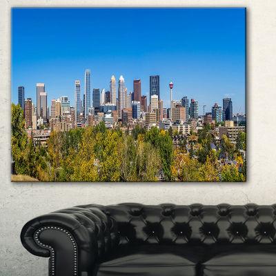 Designart Calgary Skyline With Blue Sky CityscapeCanvas Print