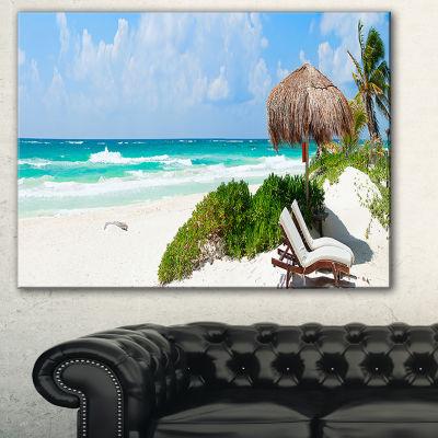 Designart Calm Caribbean Beach Panorama Photography Landscape Canvas Print