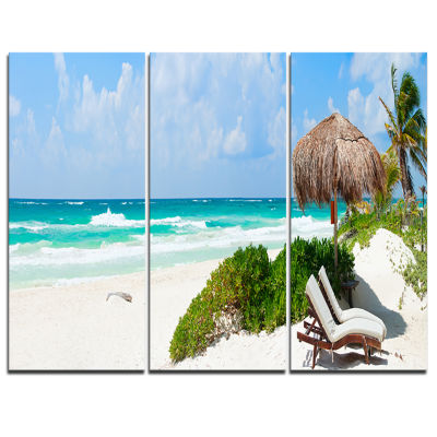 Designart Calm Caribbean Beach Panorama Photography Landscape Canvas Print - 3 Panels
